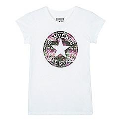 Converse - Girls' white floral logo t-shirt