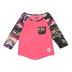 Converse - Girls' pink raglan sublimated insert top