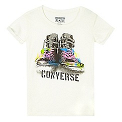 Converse - Girls' cream sneaker logo print t-shirt