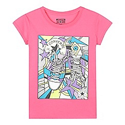 Converse - Girls' pink pop art sneaker print t-shirt