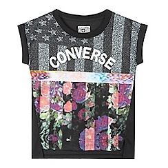 Converse - Girls' black sublimated flag logo print t-shirt