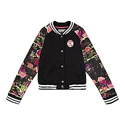 Converse - Girls' black floral varsity jacket