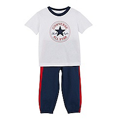 Converse - Boys' white Chuck Taylor logo t-shirt and navy joggers set