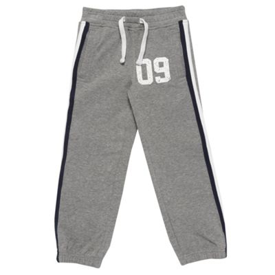 Boys Grey Appliqued Stripe Jogging Bottoms