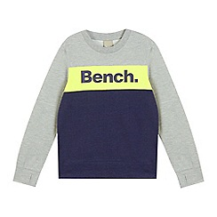 Bench - Boys' navy and grey colour block logo print jumper