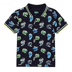 bluezoo - Boys' navy T-Rex print polo shirt