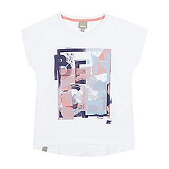 Bench - Girls' white graphic logo dipped hem t-shirt