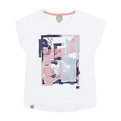 Bench - Girls' white graphic logo dipped hem t-shirt