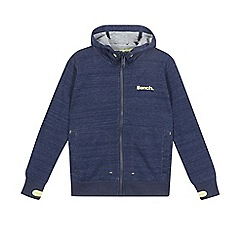 Bench - Boys' navy textured zip through hoodie