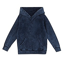 bluezoo - Boys' navy distressed-effect hoodie
