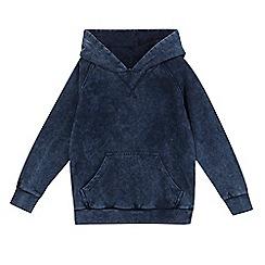 bluezoo - Boys' navy distressed-effect hoodie