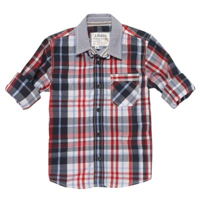 Boys Red Contrast Collar Shirt