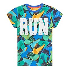 bluezoo - Boys' green 'run' print t-shirt