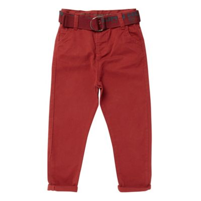 Boys Wine Canvas Belted Chino Trousers