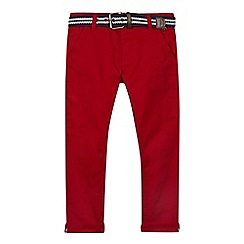 J by Jasper Conran - Boys' red slim fit chinos with belt