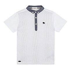 J by Jasper Conran - Boys' white polka dot panel polo logo shirt