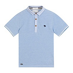 J by Jasper Conran - Boys' light blue textured polo shirt