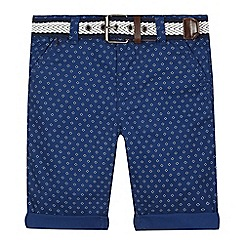 J by Jasper Conran - Boys' blue geometric print belt shorts