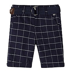 J by Jasper Conran - Boys' navy grid check print belted shorts