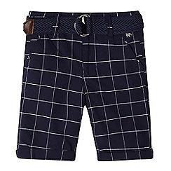 J by Jasper Conran - Boys' navy grid check print belted shorts