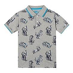 bluezoo - Boys' grey dinosaur print polo shirt
