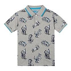 bluezoo - Boys' grey dinosaur print polo shirt
