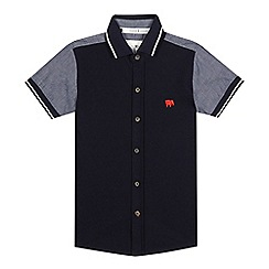 J by Jasper Conran - Boys' navy textured chambray polo shirt