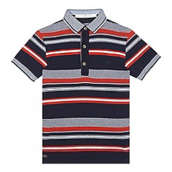 J by Jasper Conran - Boys' navy striped print polo shirt