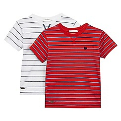 J by Jasper Conran - Pack of two boys' red and white striped print t-shirts