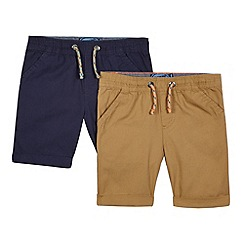 bluezoo - Boys' pack of two navy and tan shorts