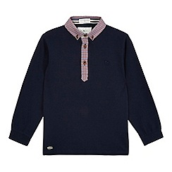 J by Jasper Conran - Boys' navy checked trim polo shirt