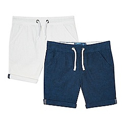 bluezoo - Boys' pack of two navy and white linen blend shorts