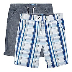 bluezoo - Pack of two boys' blue checked shorts
