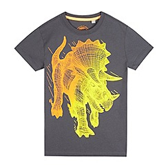 bluezoo - Boys' grey crosshatch dinosaur print t-shirt