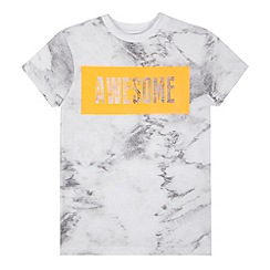 bluezoo - Boys' white marble 'Awesome' t-shirt