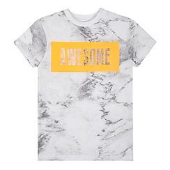 bluezoo - Boys' white marble 'Awesome' t-shirt