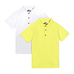 bluezoo - Pack of two boys' lime and white polo shirts
