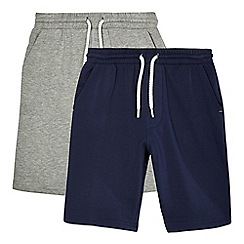 bluezoo - Pack of two boys' navy and grey sweat shorts