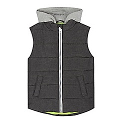 bluezoo - Boys' dark grey hooded textured gilet