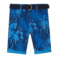 bluezoo - Boys' hibiscus print belted shorts