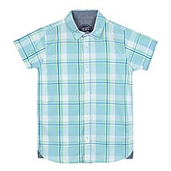 bluezoo - Boys' turquoise checked print shirt