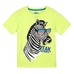 bluezoo - Boys' yellow zebra sunglasses print t-shirt
