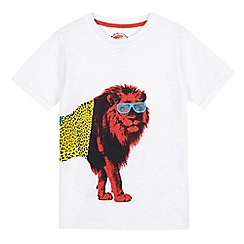 bluezoo - Boys' white lion wrap around t-shirt