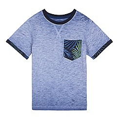 bluezoo - Boys' blue acid wash tropical t-shirt