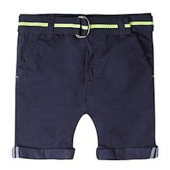 bluezoo - Girls' navy chino belted shorts