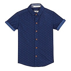 J by Jasper Conran - Boys' navy textured spot shirt