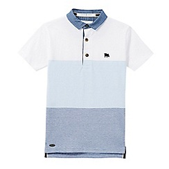 J by Jasper Conran - Boys' blue block striped print polo shirt