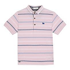 J by Jasper Conran - Boys' pink striped print polo shirt