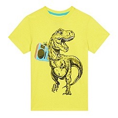 bluezoo - Boys' lime reflective dinosaur print t-shirt