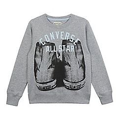 Converse - Boys' grey crew neck sweater